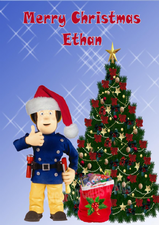 Personalised Fireman Sam Christmas Card 2